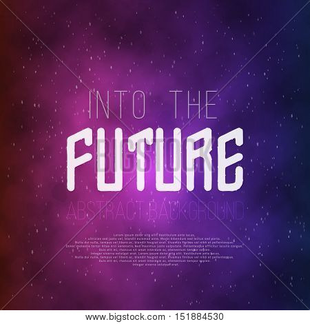 Illustration of Into The Future Abstract 1980s Style Background. Neon Poster Retro Disco 80s Background