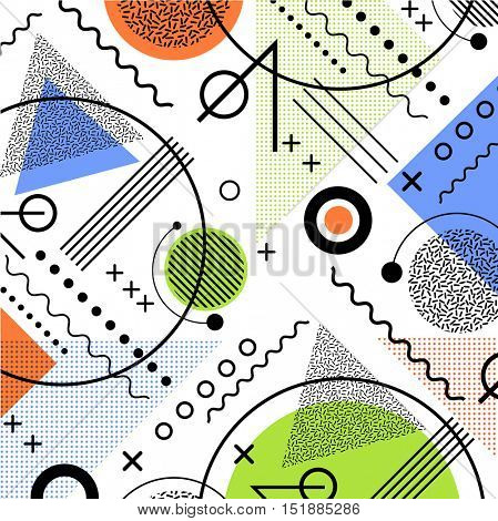 1980s inspired memphis pattern background