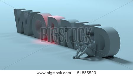 Troubled sad man sitting next to Worried text sign 3d render illustration