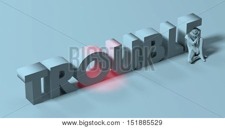 Depressed tired man near Trouble text sign 3d render illustration