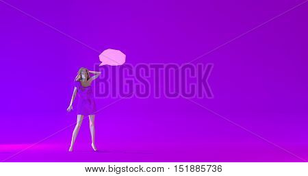 Low poly beautiful woman illustration with a dialogue cloud 3d render