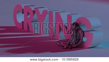 Crying - 3D Render Lettering Near Low Poly Man Illustration