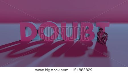Doubt - 3D Render Lettering Near Low Poly Man Illustration