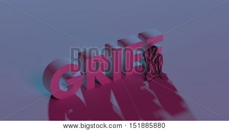 Depressed low poly man near Grief text sign 3d render illustration