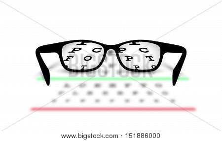 On the image presented Optometry medical background glasses with blurred background