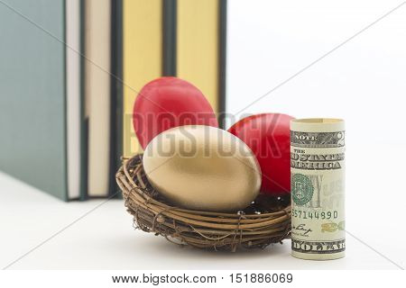 Three nest eggs two red and one gold with single American dollar.  Copy space on right of horizontal photograph.
