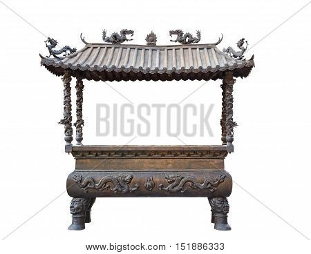 Isolated incense pot for joss in Chinese style with clipping path