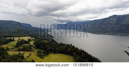 Storm clouds literally engulf the Columbia River Gorge