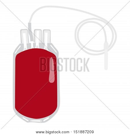 Vector illustration blood bag isolated on white. Donate blood concept. Realistic blood bag