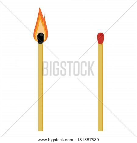 Vector illustration burning and unused, unlit match sticks isolated on white background. Burn match icon
