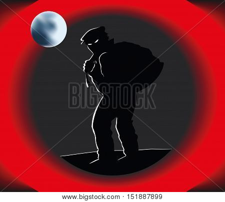 Angry patrol dog watching a thief, vector illustration