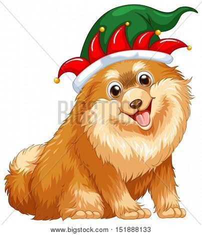 Cute dog wearing jester hat illustration
