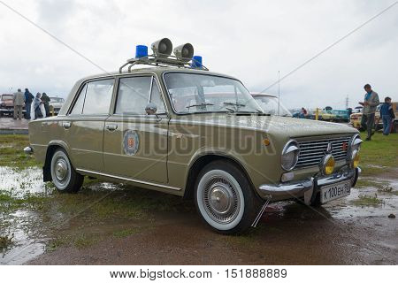 KRONSTADT, RUSSIA - SEPTEMBER 04, 2016: Patrol car of traffic police of the GDR - soviet car Zhiguli VAZ-2101 on the festival of retro transport
