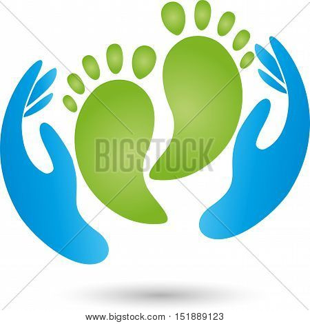 Two hands and two feet, foot care and podology logo