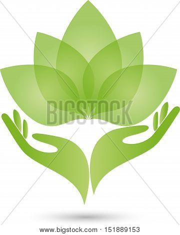 Two hands and leaves in green, flower, naturopath or nature logo