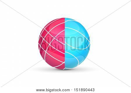 Colored ball icon and logo isolated on white background.