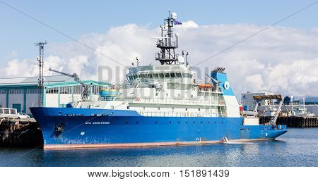 Reykjavik, Iceland - August 2, 2016;  Research Vessel Neil Armstrong In The Port Of Reykjavik, Icela