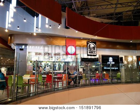 Noida, India - 12oct'16 : Food court at the Mall of India in Noida offers an amazing selection of Indian and western cuisine from some of the top fast food brands