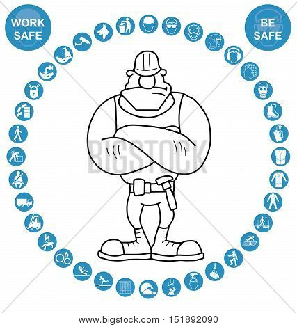 Cyan construction manufacturing and engineering health and safety related circular icon collection isolated on white background with work safe message