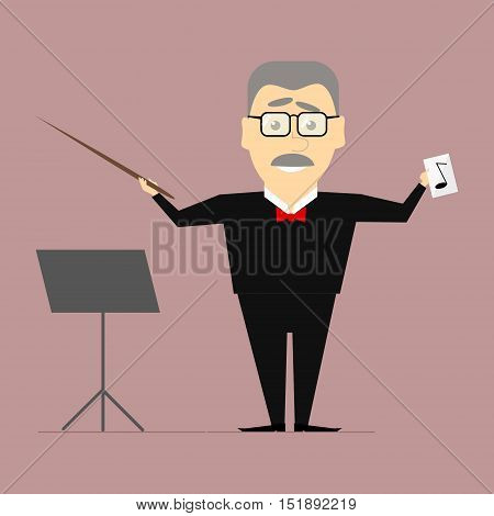 Music conductor on the stage with a baton in his hand. Vector flat