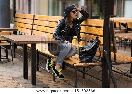 Woman In The Street Cafe