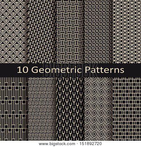 set of ten seamless vector monochrome geometric lineal patterns