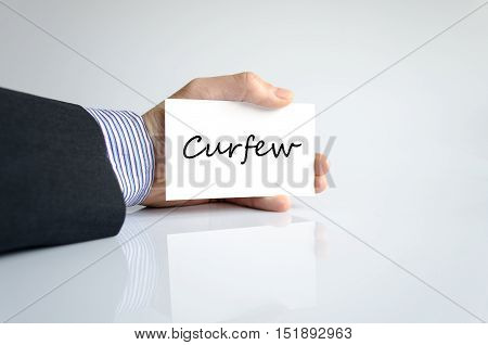 Curfew text concept isolated over white background