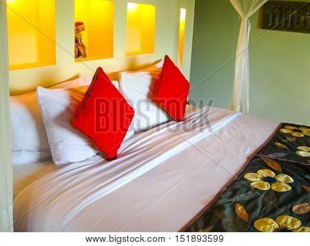 Bali Indonesia - April 13 2014: View of interior bungalow at Ubud Hanging Gardens 5 stars hotel