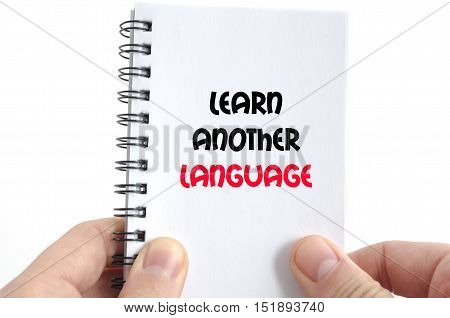 Learn another language text concept isolated over white background