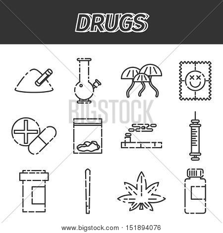 Narcotic drugs icon. Vector illustration EPS 10