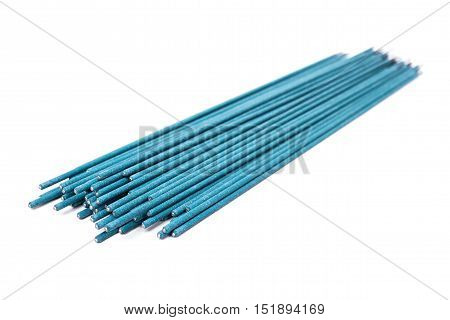 Welding electrodes, welding equipment, electrodes, isolated on white background, consumables for welding, perform welding work