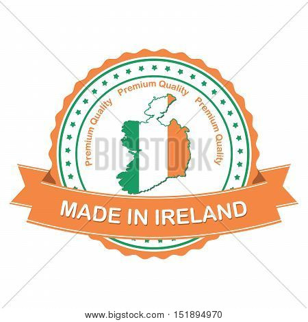 Made in Ireland, Premium quality - business  stamp / label / sticker with the national map and Irish flag, suitable for commerce / retail industry. Print colors used