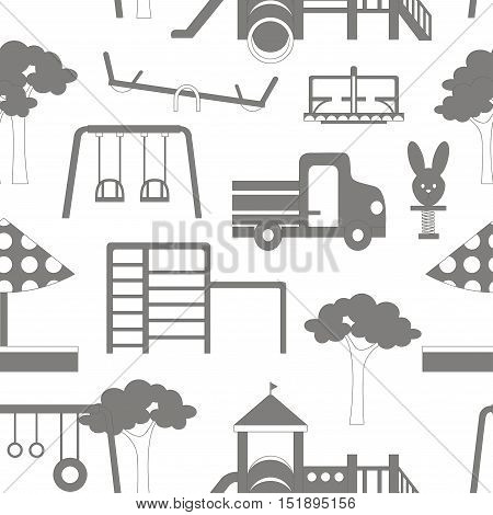 Icons set of different playground equipments pattern. Vector illustration, EPS 10