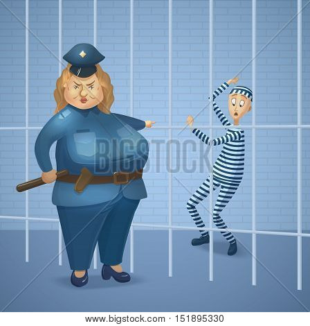 Strict policewoman and prisoner at jail. Big cop woman and scared criminal behind prison bars. Cartoon charters. Vector illustration