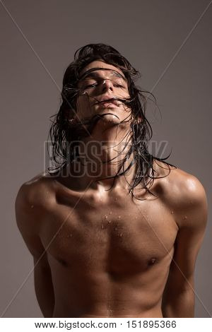 Fashion Photography Nude Body Young Man Model Wet Long Hair