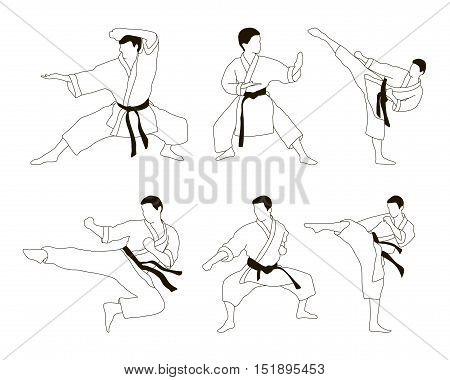 Set of six vector icons of full body man doing powerful kicks and punches. Applicable to Karate and Taekwondo.