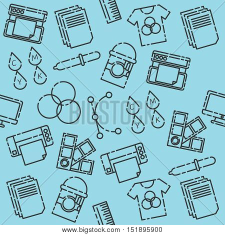 Hand drawn polygraphy pattern. Spectrum and gamma, technology equipment, ink and palette, vector illustration