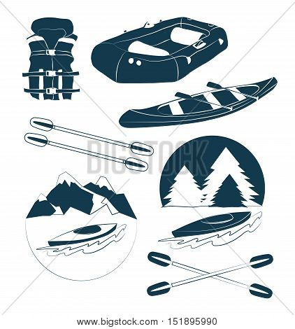 Rafting and kayaking icons collection. Rafting equipment. Life vest jacket, paddle oar, kayak boat, helmet and gloves vector pictogram in flat design. River boat trip web elements.