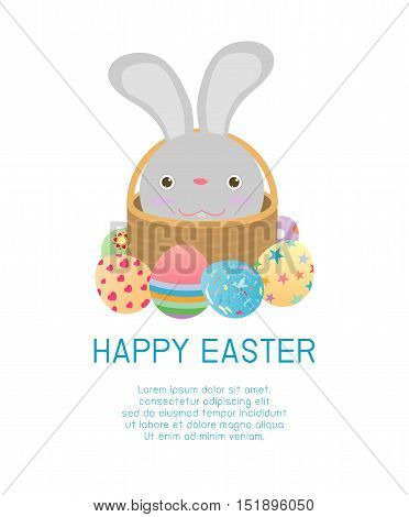 Happy Easter, Basket with rabbit and Easter eggs isolated on white background. Easter eggs. Happy Easter banners with easter eggs Vector illustration.