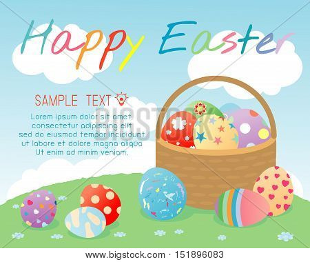 Happy Easter, Basket with color Easter eggs on background, Greeting cards Easter eggs, Happy Easter banners with easter eggs in a basket, Vector illustration