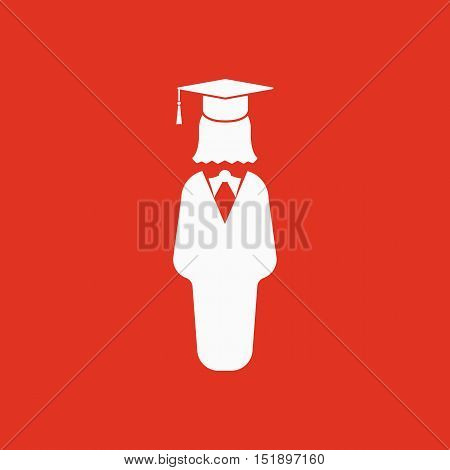 The student girl icon. School and academy, college, education symbol. Flat Vector illustration