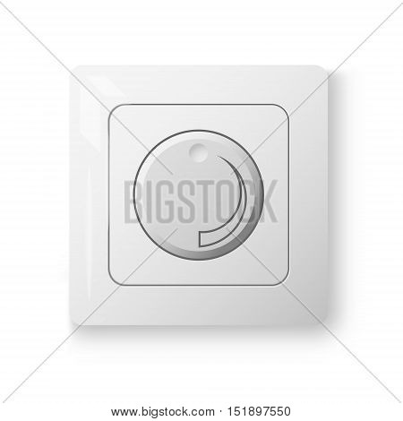 White dimmer power switch realistic 3d illustration vector object on white wall isolated device eps 10