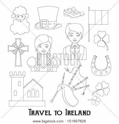 Hand drawn doodle Ireland set Vector illustration Sketchy Irish traditional food icons Republic of Ireland elements Flag Map Celtic Cross Knot Castle Leprechaun Shamrock Harp Pot of gold Travel icons.