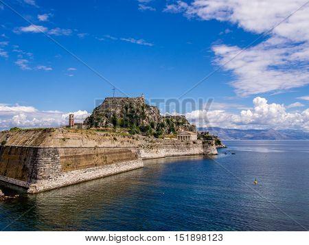 Old fortress in Kerkyra on Corfu Greek island