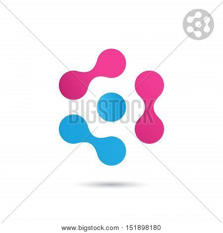 Three pair of connected dots connection logo template 2d vector logo illustration isolated on white background eps 10