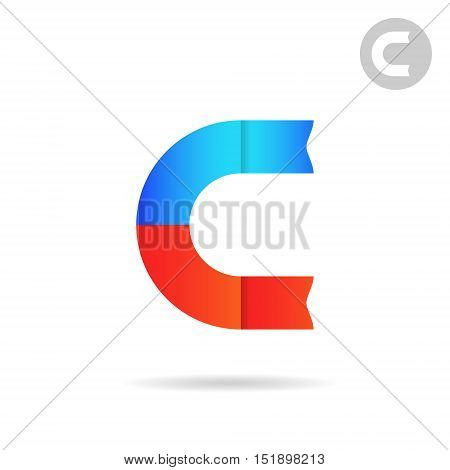 C letter logo template magnet concept north and south poles 2d vector illustration isolated on white background eps 10
