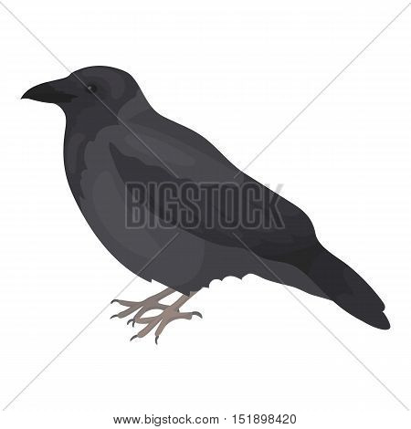 Crow icon in cartoon style isolated on white background. Bird symbol vector illustration.