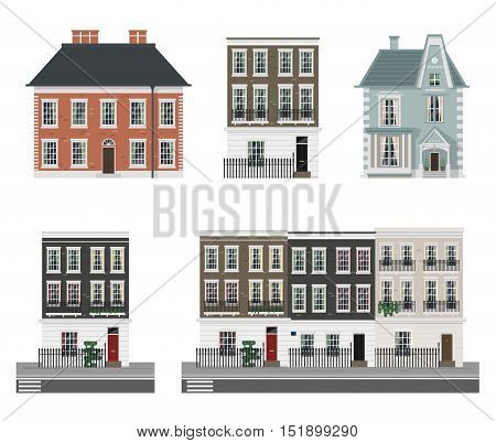 Buildings isolated set with english classic terrace houses