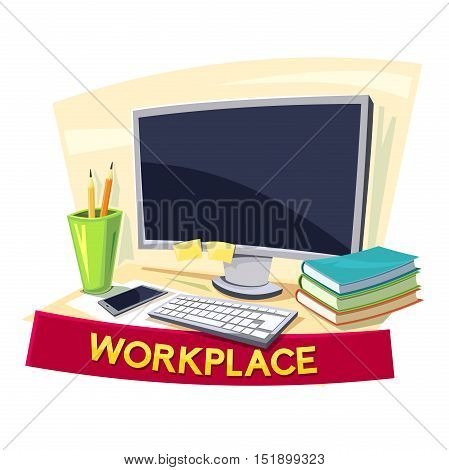 Workplace concept design, office logo, vector illustration