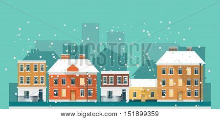 Winter - flat design urban landscape vector illustration. Christmas town whit snowfall